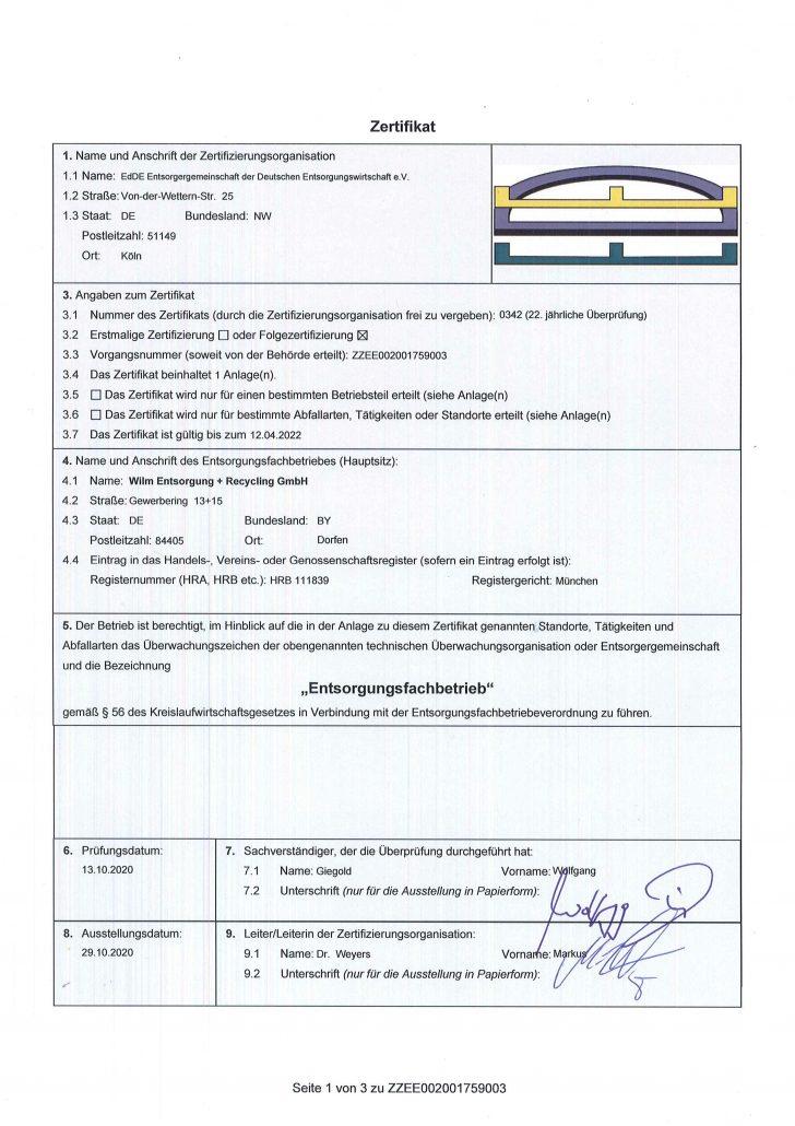 WILM GmbH Zertifikat 0342 - 2021, © WILM GmbH